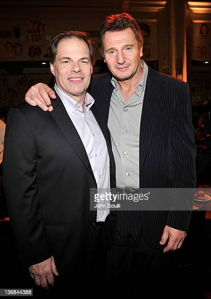 """Tom Ortenberg and Liam Neeson attend Open Road Films' """"The Grey"""" movie premiere after party at Regal Cinemas L.A. Live on January 11, 2012 in Los..."""