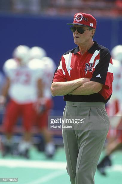 Tom Osbourne head coach of the Nebraska Cornhuskers before a college football game against the West Virginia Mountaineers on August 31 1994 at Giants...
