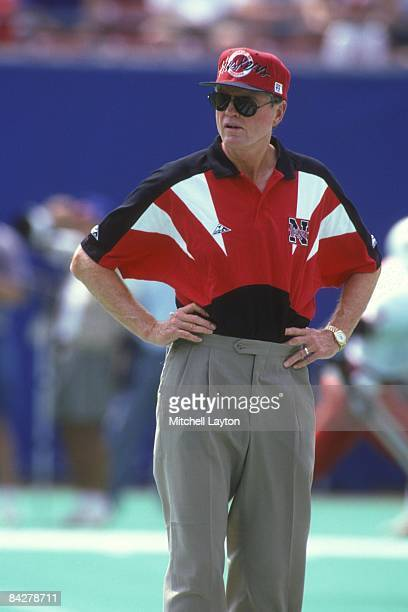 Tom Osborne, head coach of the Nebraska Cornhuskers, before a college football game against the West Virginia Mountaineers on August 31, 1994 at...