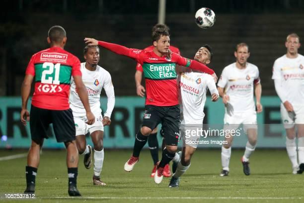 Tom Overtoom of NEC Nijmegen Anass Najah of Telstar during the Dutch Keuken Kampioen Divisie match between Telstar v NEC Nijmegen at the Rabobank...