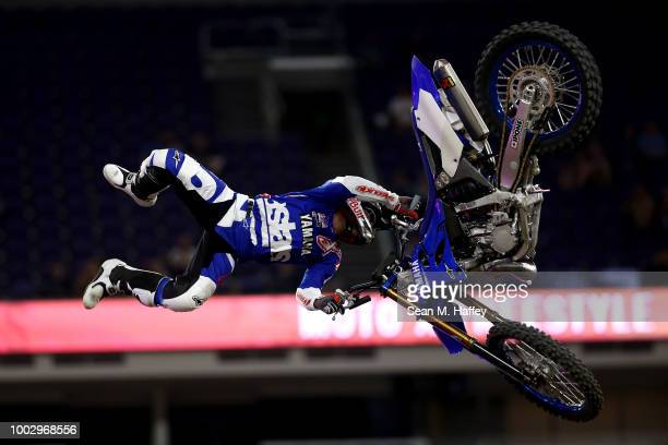 Tom Pages of France competes in the Moto X Freestyle Final event of the ESPN XGames at US Bank Stadium on July 20 2018 in Minneapolis Minnesota