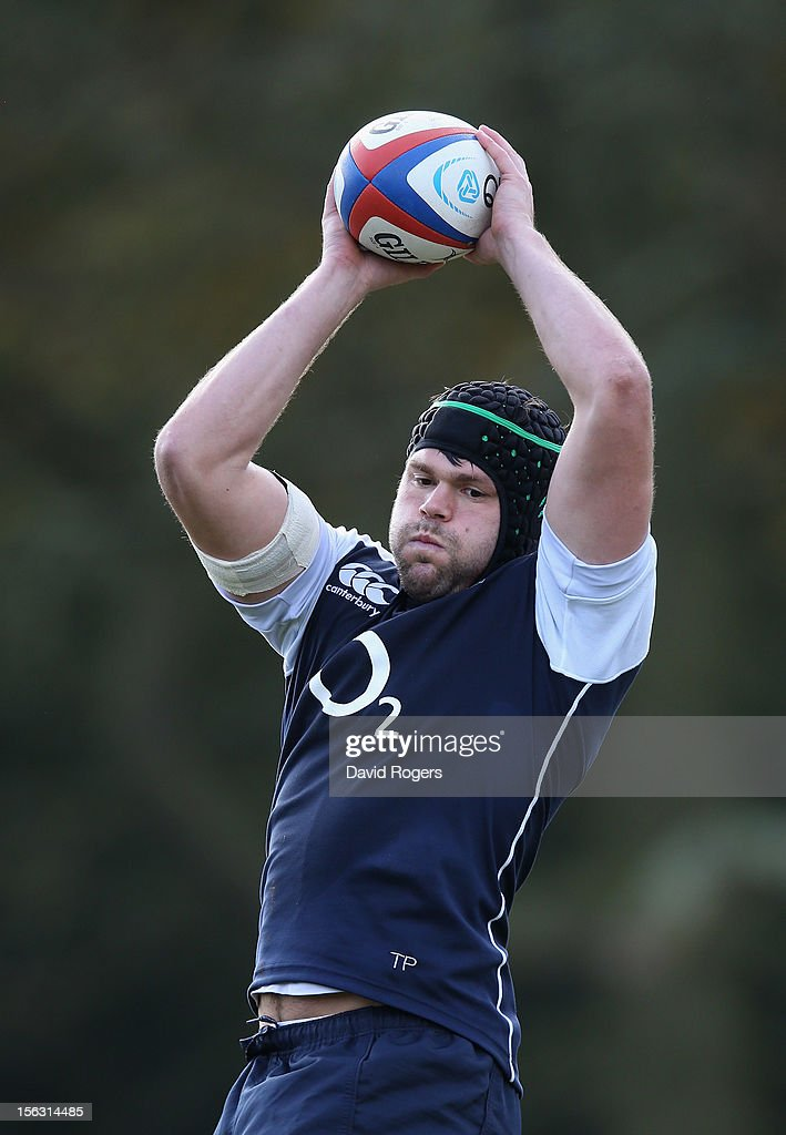 Tom Palmer catches the ball during the England training session held at Pennyhill Park on November 13, 2012 in Bagshot, England.