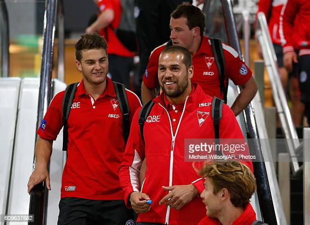 Tom Papley and Lance Franklin look on during a Sydney Swans AFL press conference at the Melbourne Airport on September 22 2016 in Melbourne Australia