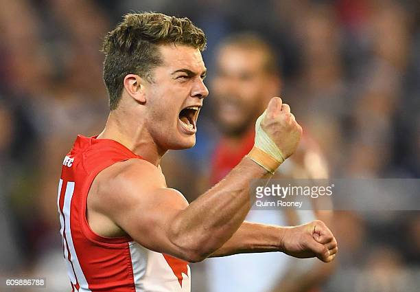 Tom Papley of the Swans celebrates kicking a goal during the AFL Second Preliminary Final match between the Geelong Cats and the Sydney Swans at...