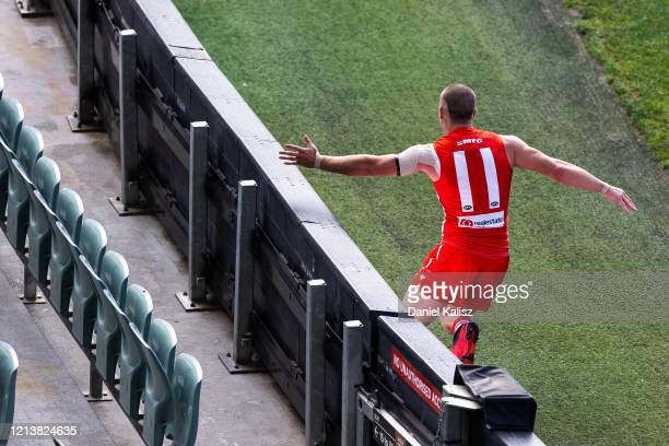 Tom Papley of the Sydney Swans celebrates during the round 1 AFL match between the Adelaide Crows and the Sydney Swans at Adelaide Oval on March 21,...