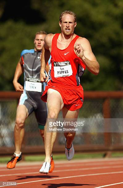 Tom Pappas of team Nike competes in the men's decathlon 400 meter dash at the USA Outdoor Track and Field Championships on June 21, 2003 at Cobb...