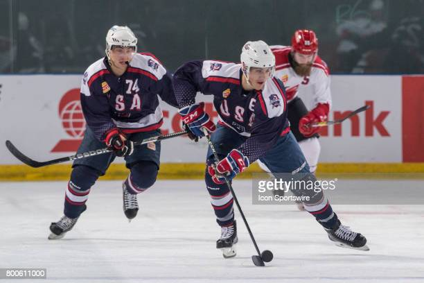 Tom Parisi of Team USA controls the puck during the Melbourne Game of the Ice Hockey Classic on June 24 2017 held at Hisence Arena Melbourne Australia