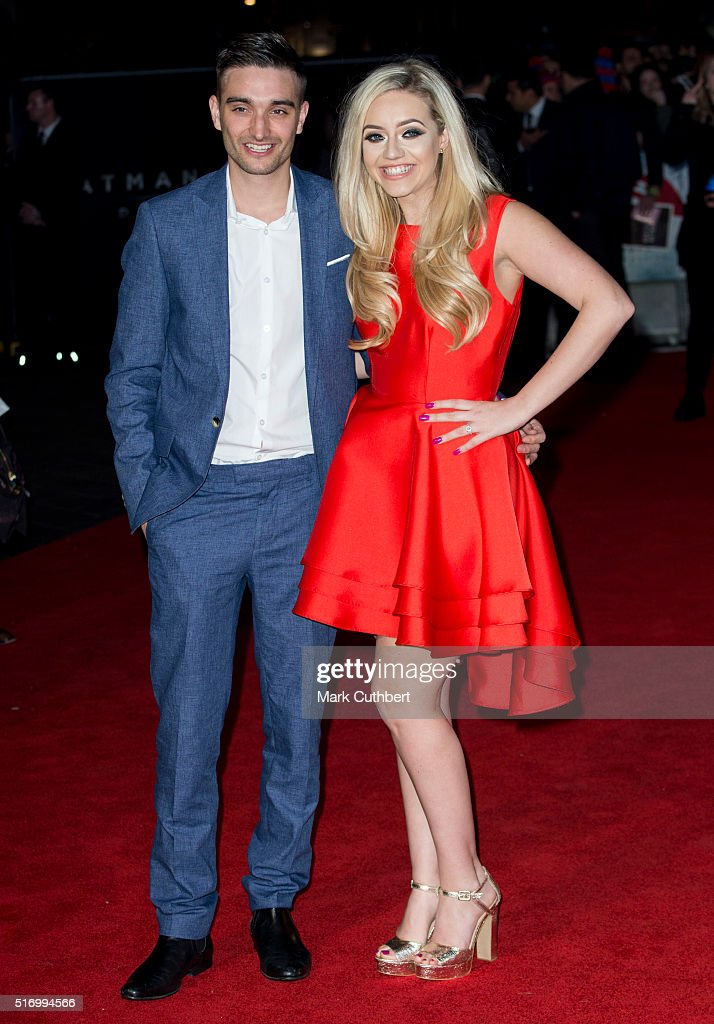 Tom Parker and Kelsey Hardwick arrive for the European Premiere of 'Batman V Superman: Dawn Of Justice' at Odeon Leicester Square on March 22, 2016 in London, England.