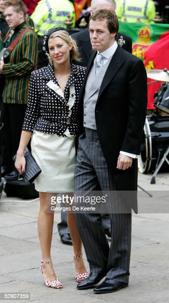 Tom Parker Bowles and fiancee Sara Buys depart the Civil Ceremony following the marriage between HRH Prince Charles the Prince of Wales and Tom's...