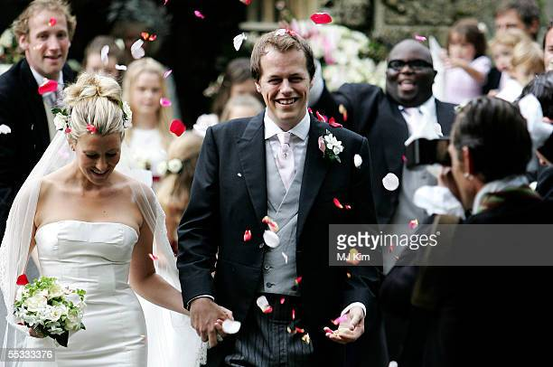 Tom Parker Bowles and his new wife Sara leave their ceremony in St Nicholas Church HenleyonThames on September 10 2005 in Oxfordshire England