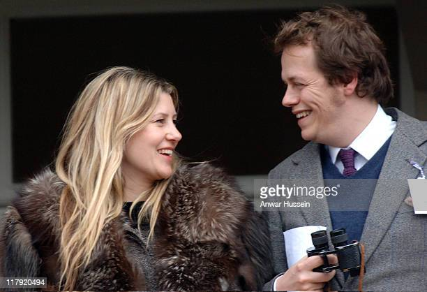 Tom Parker- Bowles and his wife Sara attend Gold Cup Day at Cheltenham Races on March 17, 2006.