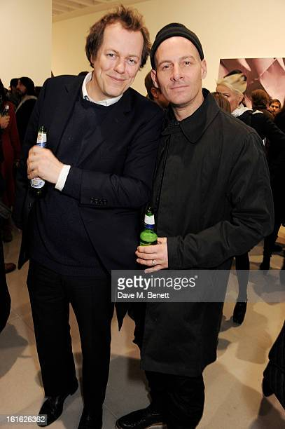 Tom Parker Bowles and Paul Rowe attend a private view of 'Mat Collishaw: This Is Not An Exit' at Blaine/Southern Gallery on February 13, 2013 in...