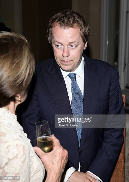 Tom Parker Bowles attends a cocktail party hosted by new EditorinChief of Harper's Bazaar UK Justine Picardie Manolo Blahnik and Penelope Tree to...