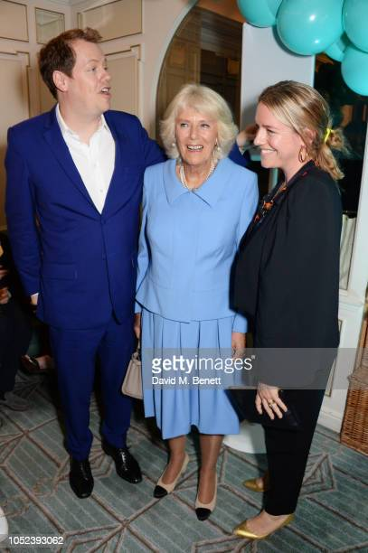 Tom Parker Bowles Camilla Duchess of Cornwall and Laura Lopes attend the launch of the Fortnum Mason Christmas Other Winter Feasts cookbook by Tom...