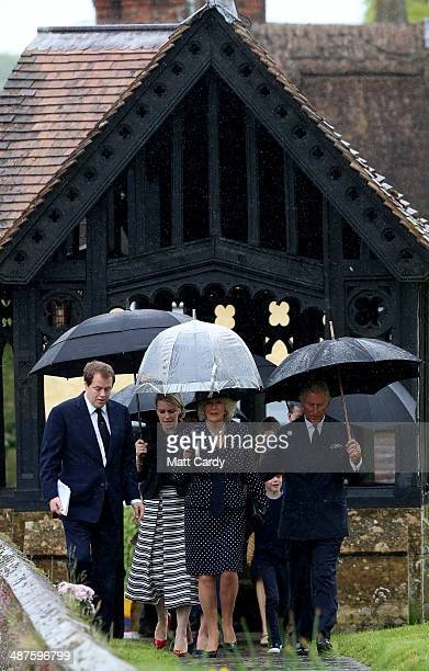 Tom Parker Bowles, Laura Lopes, Camilla, Duchess of Cornwall, and Prince Charles, Prince of Wales arrive for Mark Shand's funeral at Holy Trinity...