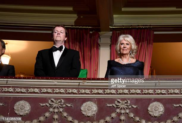 Tom Parker-Bowles and Camilla, Duchess of Cornwall watch The Olivier Awards 2019 with Mastercard at the Royal Albert Hall on April 07, 2019 in...