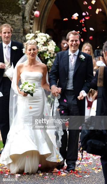 Tom ParkerBowles and his new wife Sara are covered in confetti as they leave St Nicholas's Church after their wedding ceremony on September 10 2005...