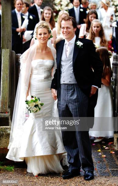 Tom ParkerBowles and his new wife Sara leave St Nicholas's Church after their wedding ceremony on September 10 2005 in HenleyonThames England