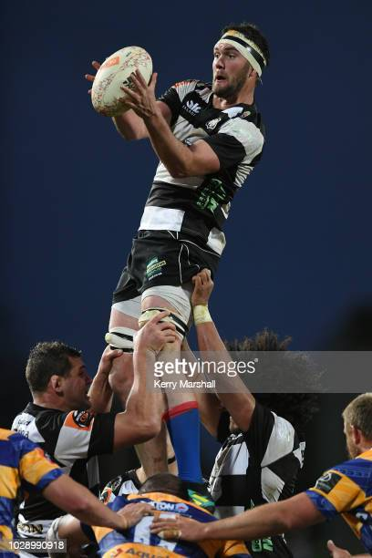 Tom Parsons of Hawke's Bay takes a lineout during the round four Mitre 10 Cup match between Hawke's Bay and Bay of Plenty at McLean Park on September...