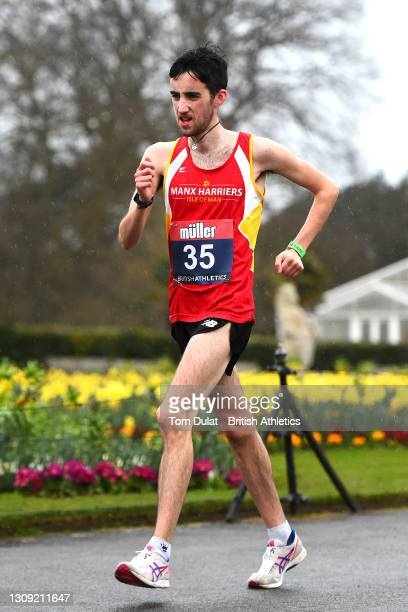Tom Partington competes in the mens 20km walking race during the Muller British Athletics Marathon and 20km Walk Trials at Kew Gardens on March 26,...