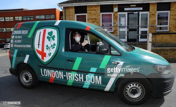 Tom Parton, London Irish flyhalf delivers meals to NHS staff at West Middlesex University Hospital prepared by London Irish staff in their Hazelwood...