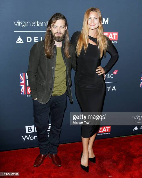 Tom Payne and Jennifer Akerman arrive to the Film Is GREAT Reception honoring British nominees of The 90th Annual Academy Awards held at The British...