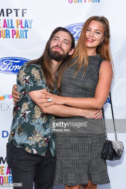 Tom Payne and Jennifer Akerman attend MPTF's Annual NextGen Summer Party at Paramount Pictures on August 16 2018 in Los Angeles California