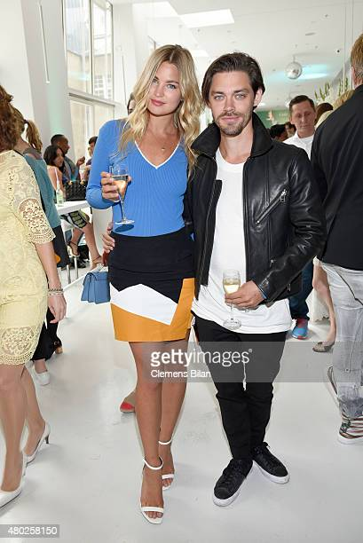 Tom Payne and Jennifer Akerman attend the GALA Fashion Brunch Summer 2015 at Ellington Hotel on July 10 2015 in Berlin Germany