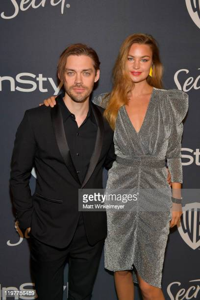 Tom Payne and Jennifer Åkerman attend The 2020 InStyle And Warner Bros 77th Annual Golden Globe Awards PostParty at The Beverly Hilton Hotel on...