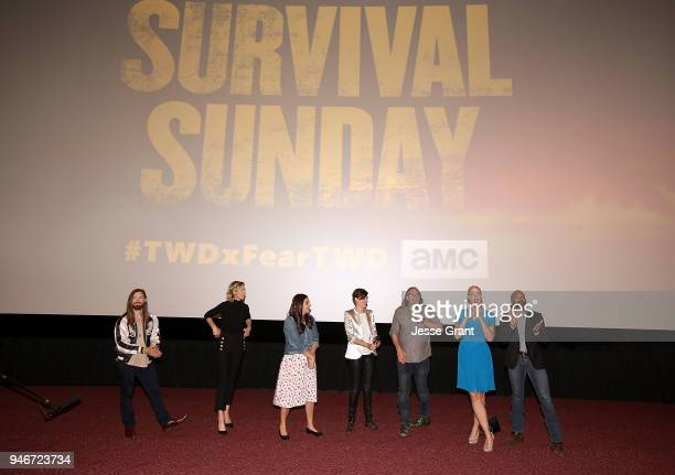 Tom Payne Jenna Elfman Alanna Masterson Maggie Grace Greg Nicotero Pollyanna McIntosh and Khary Payton attend AMC Survival Sunday The Walking...