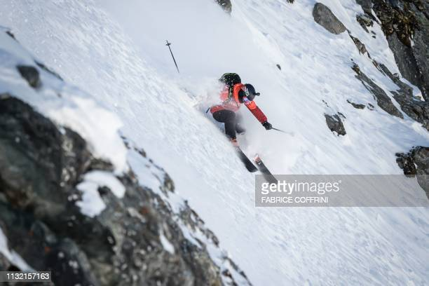 Tom Peiffer of Canada competes during the Men's ski event at the Xtreme Freeride World Tour final on the Bec de Rosses mountain on March 23 2019...