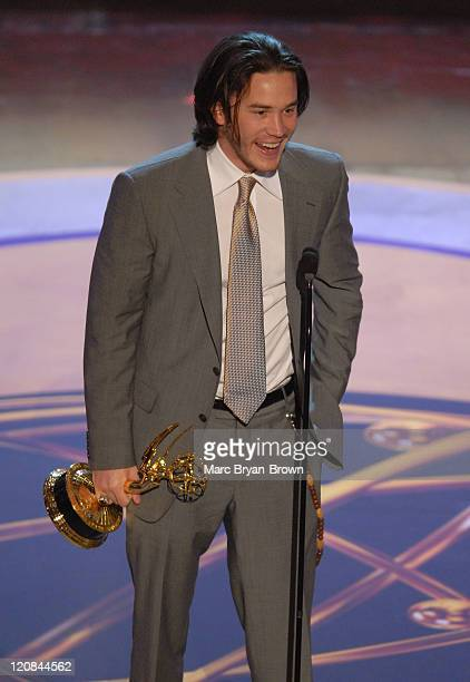 """Tom Pelphrey accepts the outstanding younger actor in a drama series award for """"Guiding Light"""""""