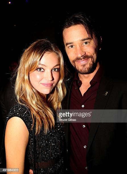 Tom Pelphrey and guest pose at The Opening Night for the MTC production of Sam Shepard's 'Fool For Love' on Broadway at Urbo NYC on October 8 2015 in...