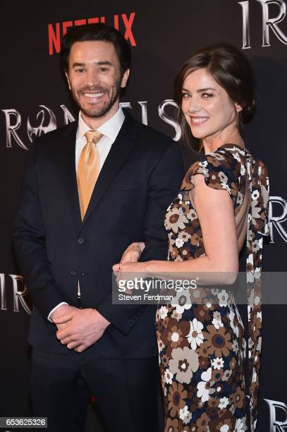 Tom Pelphrey and Jessica Stroup arrive at the New York screening of Marvel's Iron Fist at AMC Empire 25 on March 15 2017 in New York City