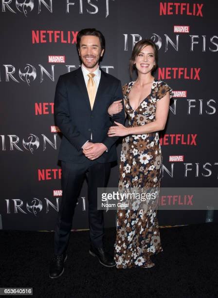 "Tom Pelphrey and Jessica Stroup attend Marvel's ""Iron Fist"" New York screening at AMC Empire 25 on March 15, 2017 in New York City."