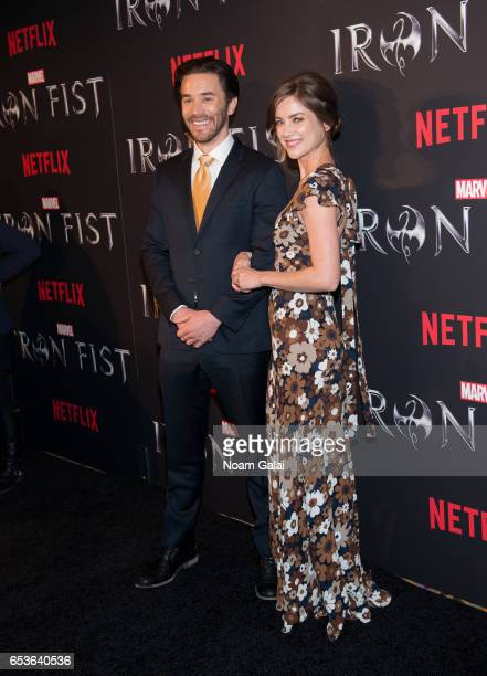 Tom Pelphrey and Jessica Stroup attend Marvel's 'Iron Fist' New York screening at AMC Empire 25 on March 15 2017 in New York City