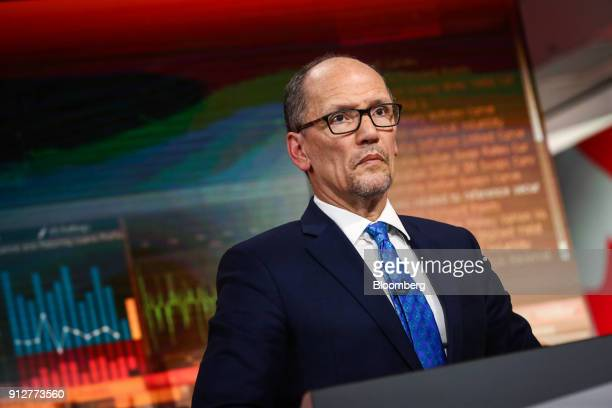 Tom Perez chairman of the Democratic National Committee listens during a Bloomberg Television interview in New York US on Wednesday Jan 31 2018 Perez...