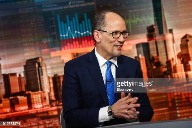 Tom Perez chairman of the Democratic National Committee speaks during a Bloomberg Television interview in New York US on Wednesday Jan 31 2018 Perez...