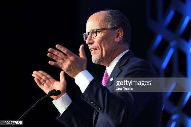 Tom Perez Democratic National Committee chairman speaks during the Blue NC Celebration Dinner held at the Hilton Charlotte University Place on...