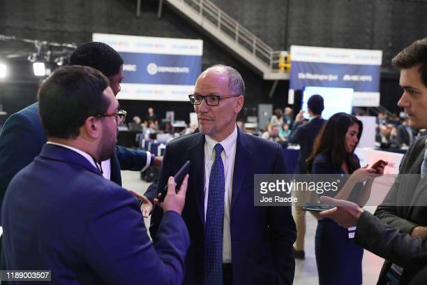 Tom Perez the head of the Democratic National Committee speaks to the media before the start of the Democratic Presidential Debate at Tyler Perry...