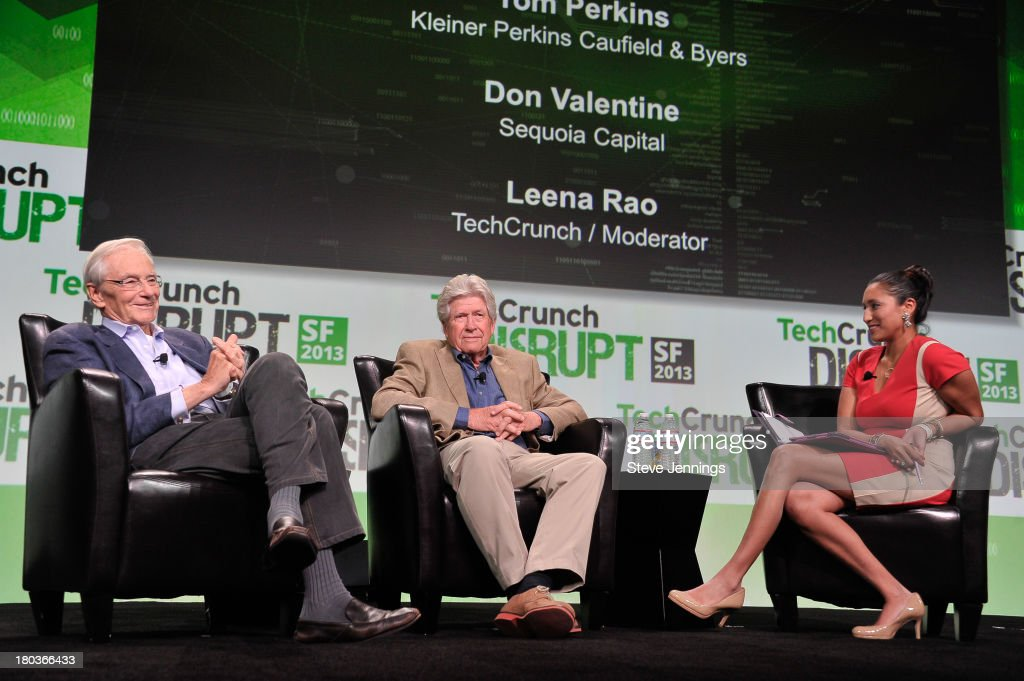 Tom Perkins Don Valentine And Leena Rao Attend Day 3 Of TechCrunch Disrupt  SF 2013 At