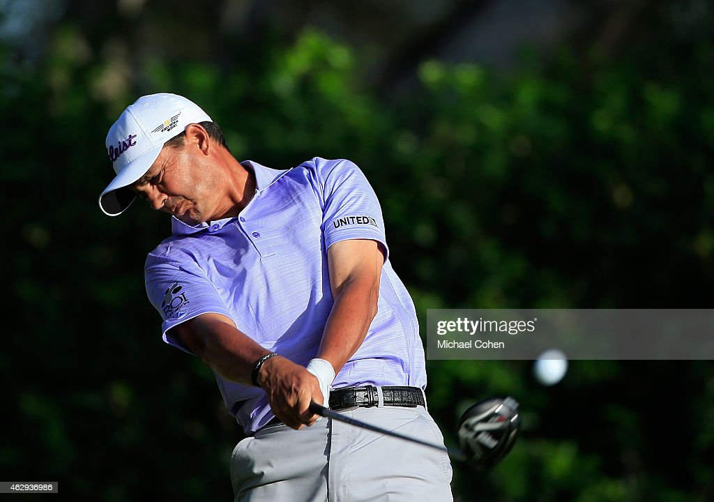 Tom Pernice, Jr. hits his drive on the 18th hole during the second round of the Allianz Championship held at The Old Course at Broken Sound on February 7, 2015 in Boca Raton, Florida.