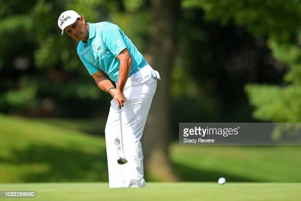 Tom Pernice Jr putts on the first green during the first round of the Ally Challenge presented by McLaren at Warwick Hills Golf Country Club on...