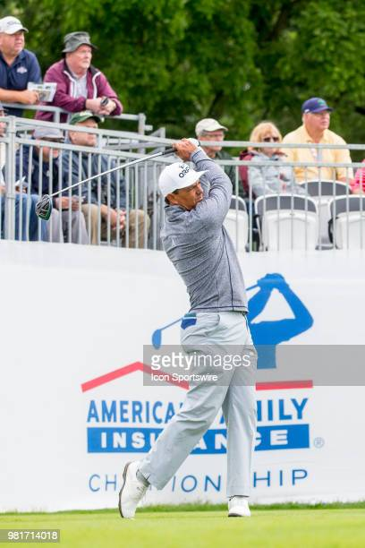 Tom Pernice Jr tees off on the first tee during the American Family Insurance Championship Champions Tour golf tournament on June 22 2018 at...
