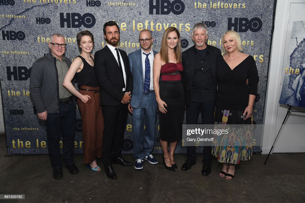 Tom Perrotta, Carrie Coon, Justin Theroux, Damon Lindelof, Amy Brenneman, Scott Glenn and Mimi Leder attend 'The Leftovers' screening at Metrograph on June 1, 2017 in New York City.