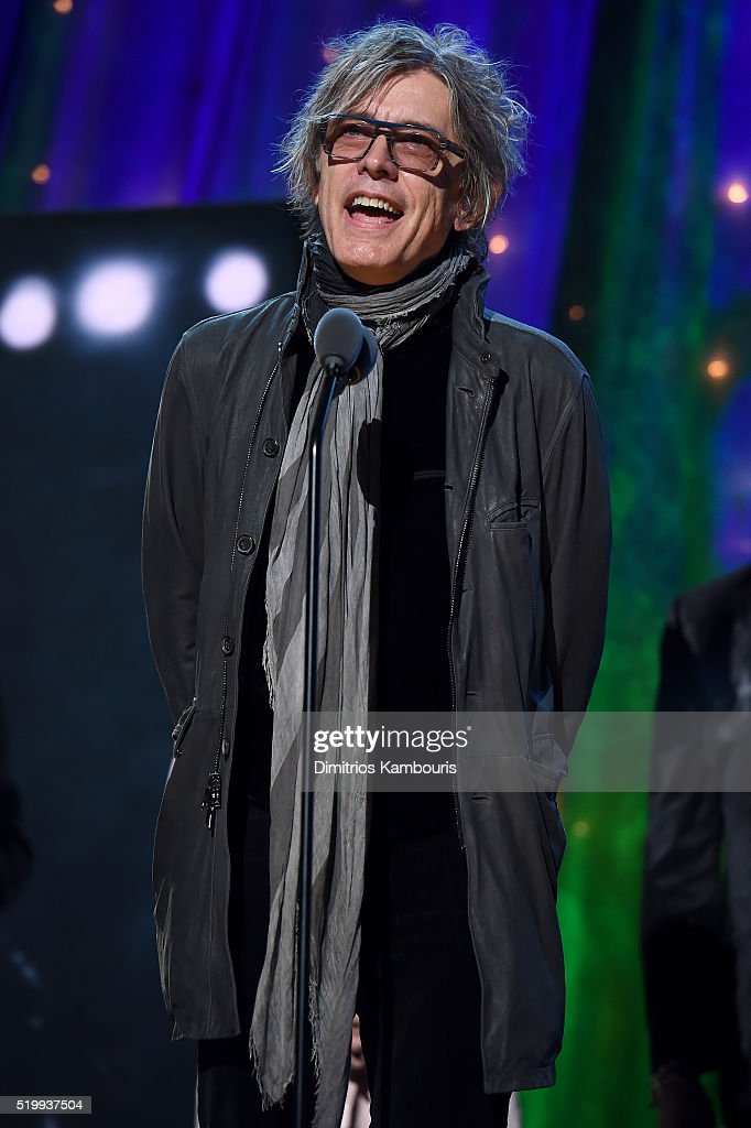Tom Petersson of Cheap Trick speaks onstage at the 31st Annual Rock And Roll Hall Of Fame Induction Ceremony at Barclays Center of Brooklyn on April 8, 2016 in New York City.