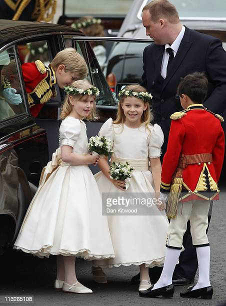 Tom Pettifer Lady Louise Windsor Margarita ArmstrongJones and Master William LowtherPinkerton arrive to attend the Royal Wedding of Prince William to...
