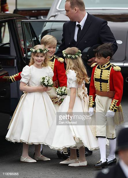 Tom Pettifer smiles as he arrives with Master William LowtherPinkerton Lady Louise Windsor and Margarita ArmstrongJones to attend the Royal Wedding...
