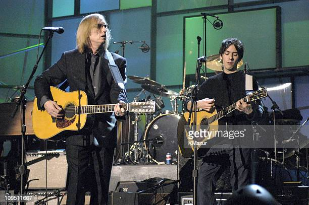 Tom Petty and Dhani Harrison, son of inductee George Harrison
