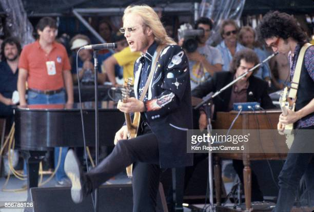 Tom Petty and the Heartbreakers are photographed on July 13, 1985 at Live Aid at JFK Stadium in Philadelphia, Pennsylvania. CREDIT MUST READ: Ken...